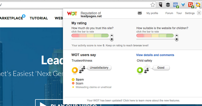 LeadPages Unsatisfactory WOT