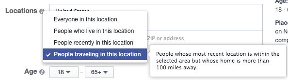 Facebook Location Targeting Traveling In